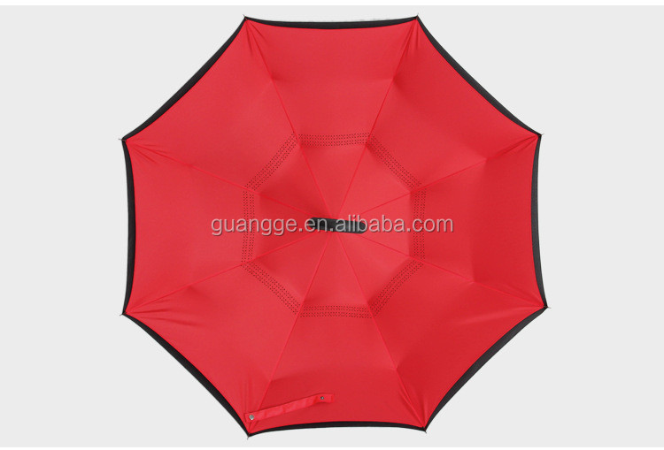 Hot Selling Reverse Umbrella Type 190T Pongee Fabric Frame New Design Inside Out Umbrella 60cm*8k