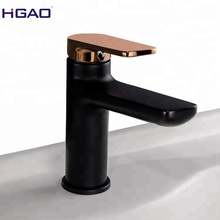 5 Years warranty sanitary ware factory supplying black basin faucet modern with rose gold handle
