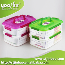 Factory Wholesale Freezer Safe Plastic Food Storage Container with 3 Dividers and Lid