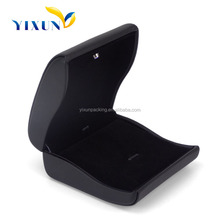 High End Luxury Black PU Leather LED Light fsd Jewelry Ring Box