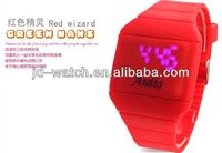 2012 fashion trendy digital watch promotional cheap touch screen led watches square led silicone watch