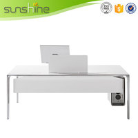 Classic White Office Desk Computer Desk Design MFC Board With Stainless Steel Table Leg