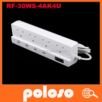 UK 4Ground outlets 4USB Ports USB Electrical Socket with CE ROHS