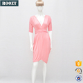 Summer casual women dresses Deep-v Pink short dress for lady