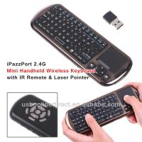 2.4G Mini handheld keyboard Wireless touchpad with IR Remote & Laser Pointer