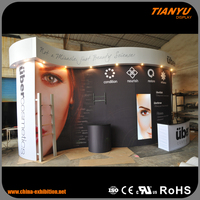 Advertising standard china wave shape exhibition booth contractor