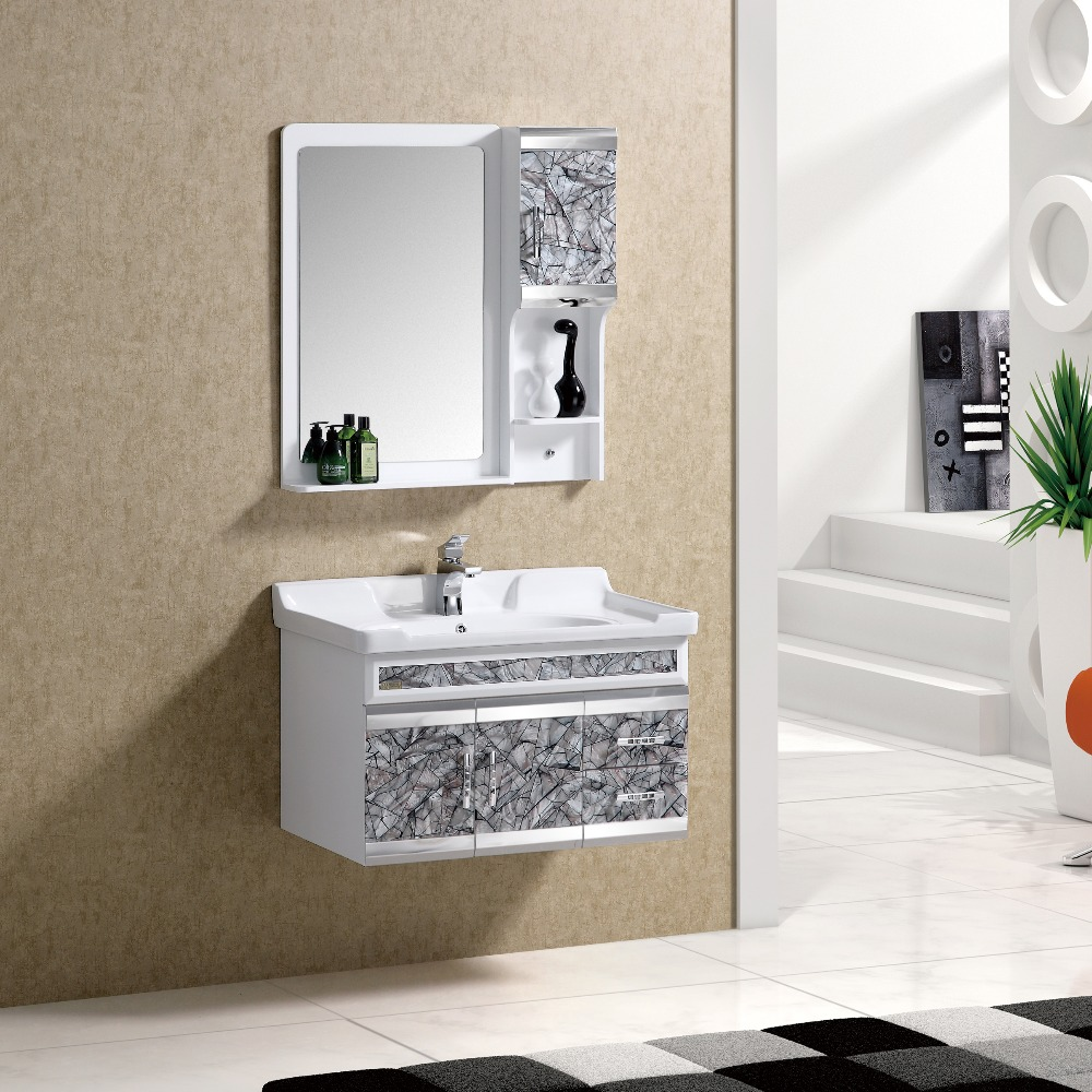 PVC Storage Slim White Lacquer Vanity Cabinet <strong>OAK</strong>