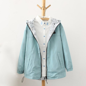 spring autumn fashion coat pocket zipper hooded two side wear