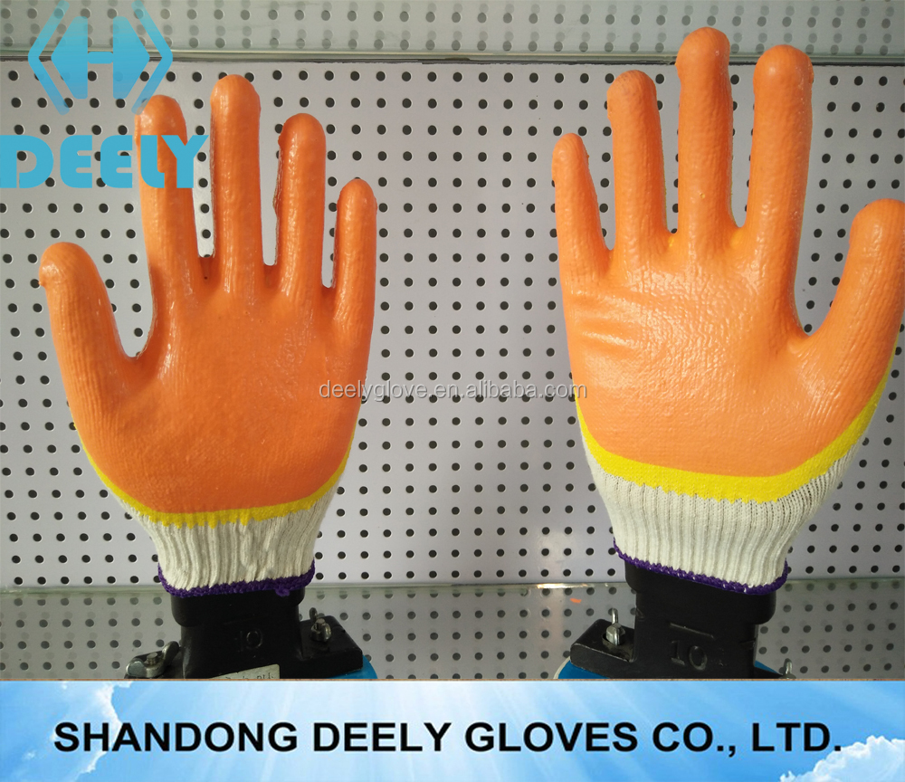 Promotional Customized Green Yellow Double cotton lined rubber gloves