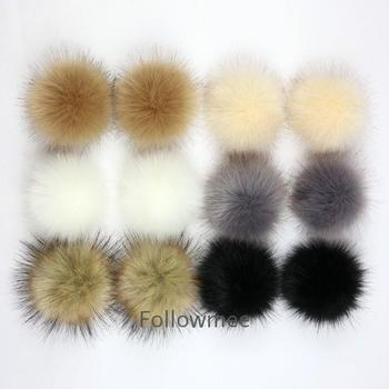 Factory wholesale artificial fur hair fox fur pompom or faux raccoon fur pom pom ball with snap