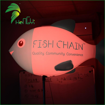 LED Lighted Inflatable Furniture, Fish Shaped Balloon Stand Pole Party Decoration, Tripod Inflatable Led Light Balloons