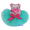 Aqua Blue Hot Pink Rose Flower Bling Heart Crystal Party Dress Small Pet Dog Clothes XS-L