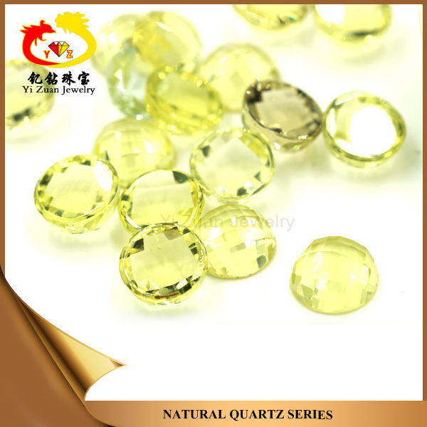 High Quality Natural Citrine Crystal Quartz Checker Facets cut Round Flat Bottom Loose Mineral Gemstones