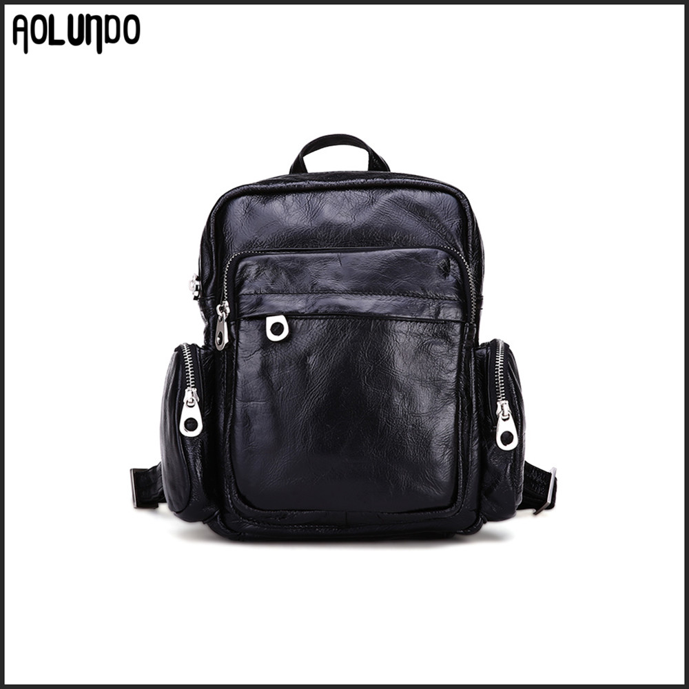 Quality Guaranteed Leather Shoulder Bags Women Soft Black Backpack