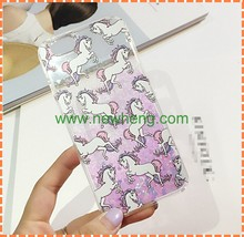 Hot selling unicorn horse glitter liquid cell phone case for iphone 6