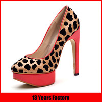 2015 fashion sweet cute leopard leather shoes women high heel platform shoes