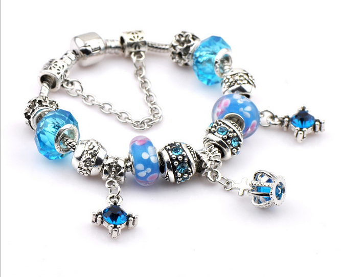Fashion Lampwork Crystal Blue Exotic BeadedBracelet For Women Jewelry Accessories