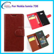 For Nokia lumia 730 leather cover case,for Nokia case with flip,case for Nokia 730