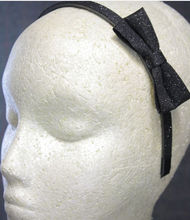 Godbead Glitter shimmer side bow thin skinny headband BLACK festive dance cheer holiday