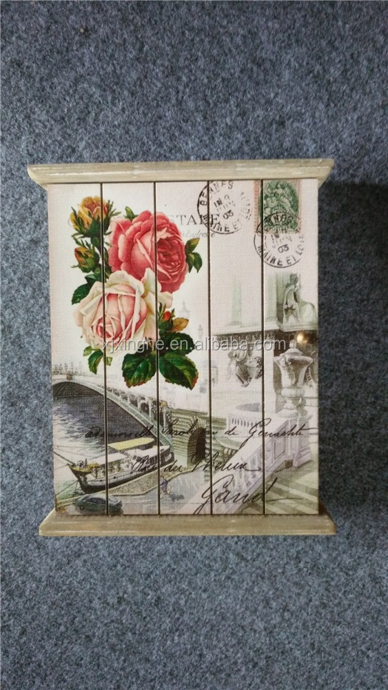 Wooden key box with painting