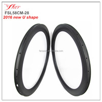 3 years warranty Farsports 2016 bicycle 28mm wide carbon clincher rims 38/45/58mm deep 16-32H available for wheels building