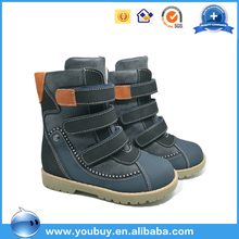 Real fur genuine leather kids winter boots, roman wholesale children shoes