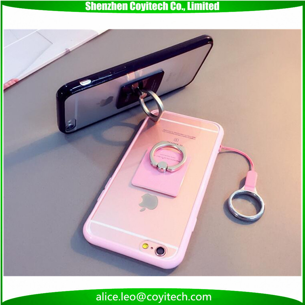 "Ring Phone Case For iPhone 5 5s 6 6s Plus SE 4"" 4.7"" 5.5"" Cellphone Back Cover Shell With Lanyard Phone Holder"