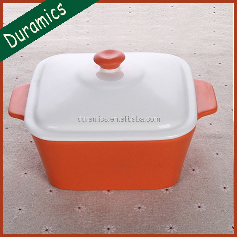 Ceramic square cooking pot with lid