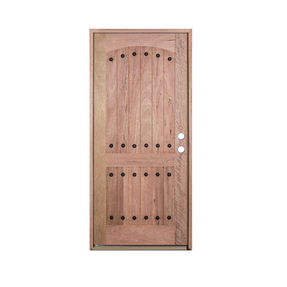 36 in. x 80 in. V-Groove 2-Panel Rustic Unfinished Distressed Mahogany Left-Hand Solid Wood Prehung Front Door