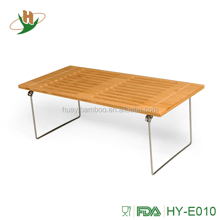 New arrival folding wooden bamboo breakfast bed tray with metal legs