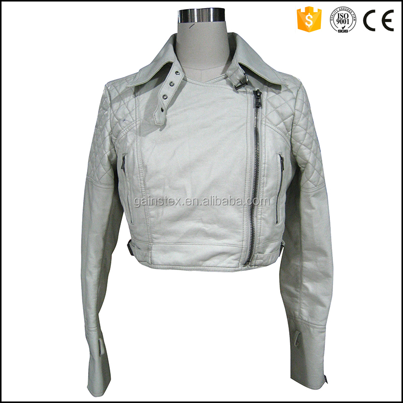 2016 new fashion ladies leather motorcycle jacket OEM/ODM for brand series