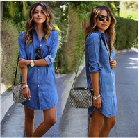 HT-WP 2017 Custom Cheap New Design Maxi Dresses Hot selling soft solid color long sleeve casual denim shirt dress