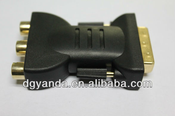 High quality DVI plug to 3 pin RCA jack 180 degree adapter