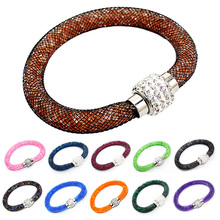 Hot sale nets crystal monolayer magnet buckle bangle bracelet wholesale in many colors