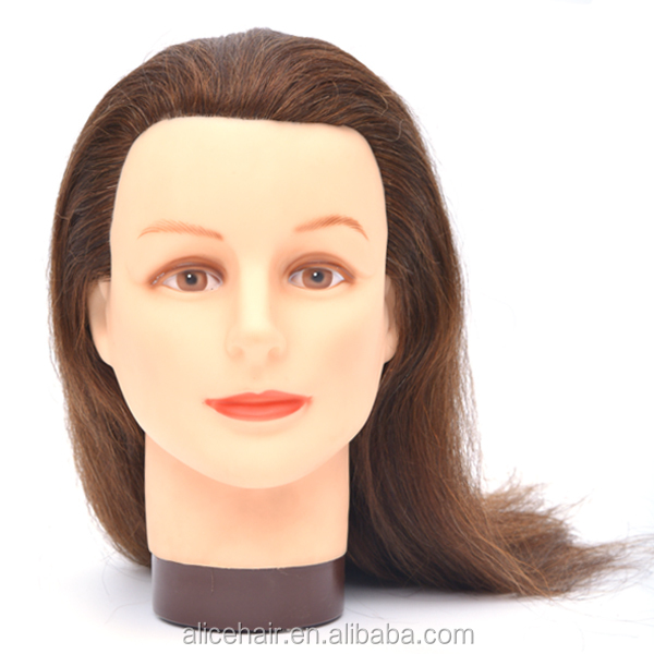 Wholesale training mannequin head with hair 100% human hair mannequin head for hairdresser