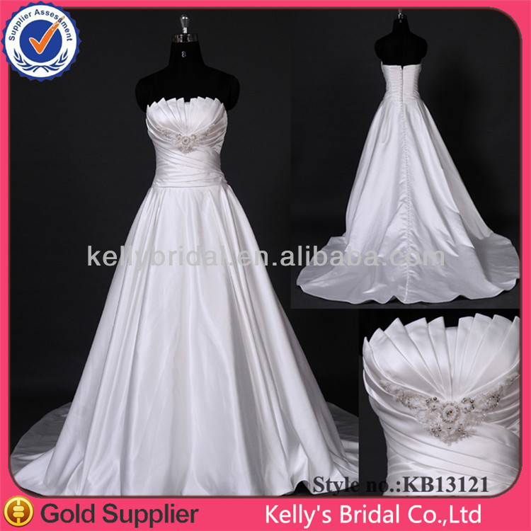 Real photoes ruffle satin cheap wedding dresses made in China