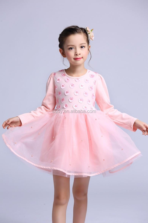 Rosa niño niñas vestidos de fiesta de manga larga 3D flores de tul ...