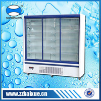 Adjustable shelf drug display cooler with sliding toughened hollow glass door