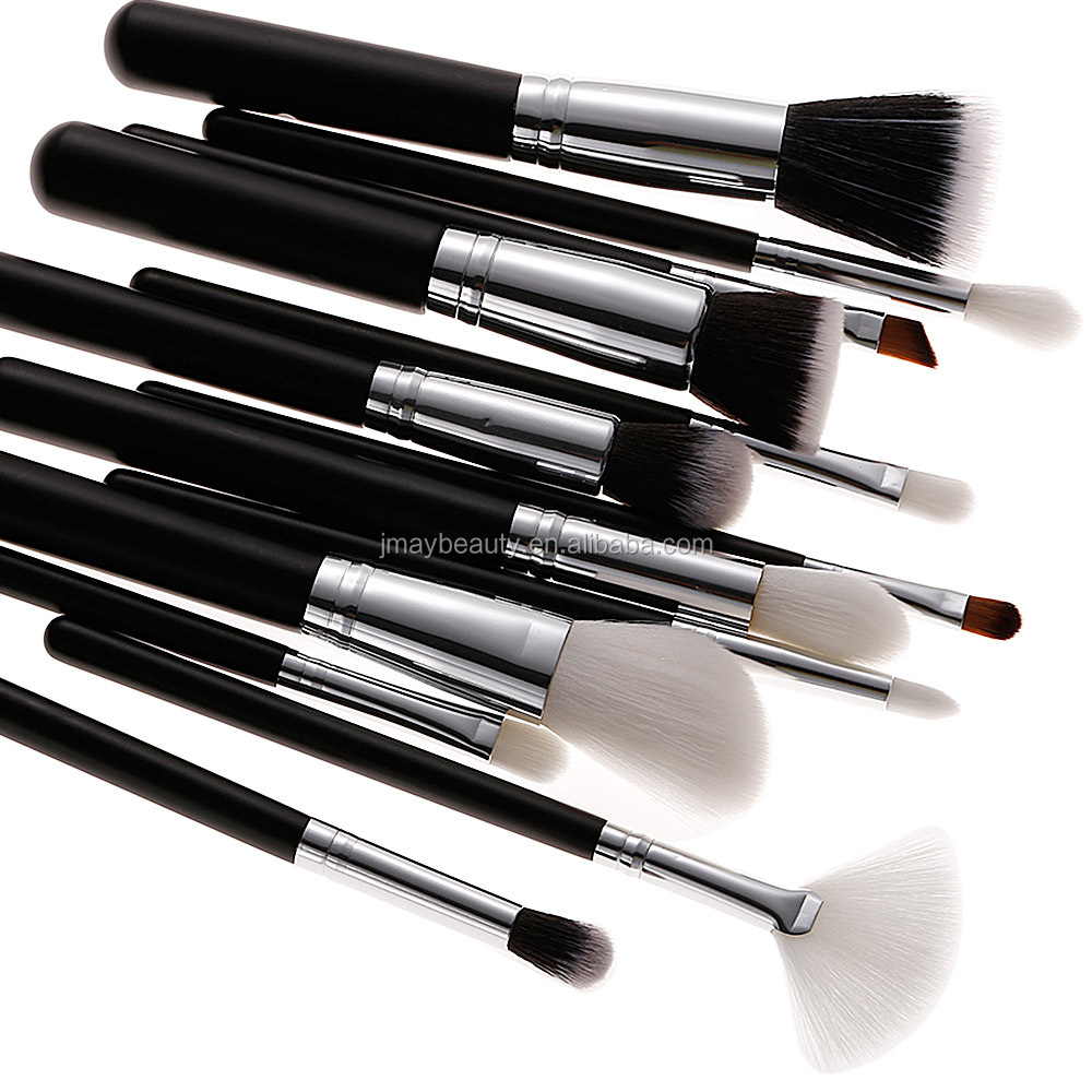 White handle silver gold ferrule kit Best sale wooden handle Latest Classic full complete your logo 12pcs make up brushes set