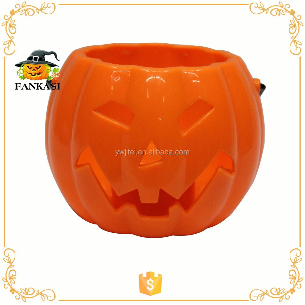 Light up plastic Halloween pumpkin buckets