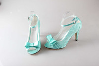 BS884 custom handmade light blue lace bowtie party shoes bridal wedding shoes