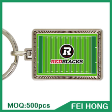 High Quality Canada Sports Digital Printing Souvenir Metal Rugby Ball Keychain