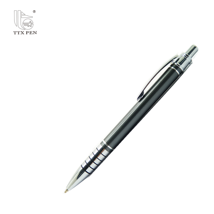 Cheapest click action Stift aluminum metal ballpoint pens with laser logo