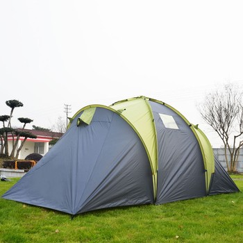 71 Inch Tall 6 Person Double Layer Family Tent with 2 Sleeping Cabins