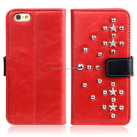 High Quality Rivet Wallet Card Holder Case For iPhone 5SE Leather Flip Cover Stand