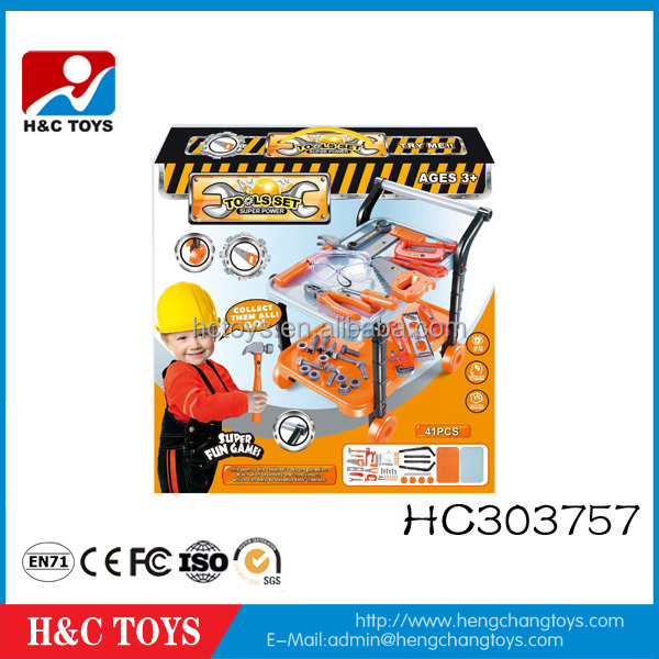 Children educational tool trolley toy plastic kids tool set toy for sale HC303757