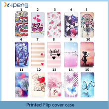 Cheaper wholesale printed Bookstyle stand card slots PU leather cover flip case for Sony XA1