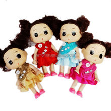 plastic mini craft dolls with 4 colors dress