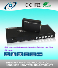 HDMI 4 x1 seamless switcher with IR and Cat out 50M