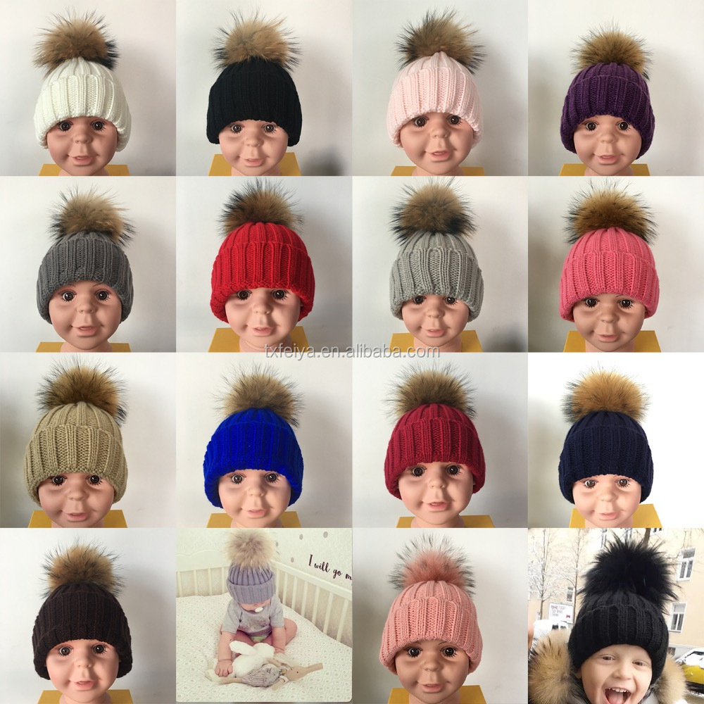 High Quality Kids Knitted Beanies Colorful Big Raccoon Fur Pom Poms Winter Hat